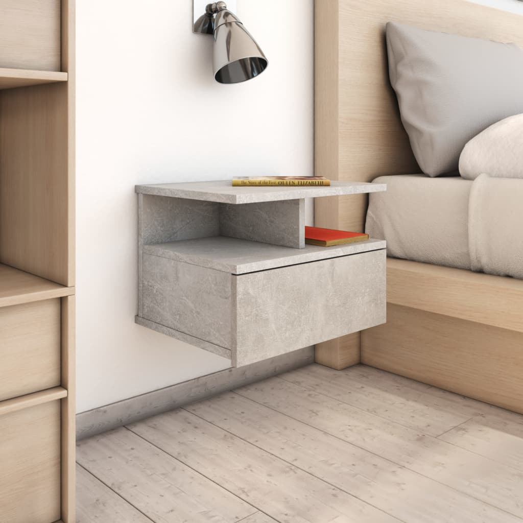 Floating Nightstand Concrete Grey 40x31x27 cm Chipboard