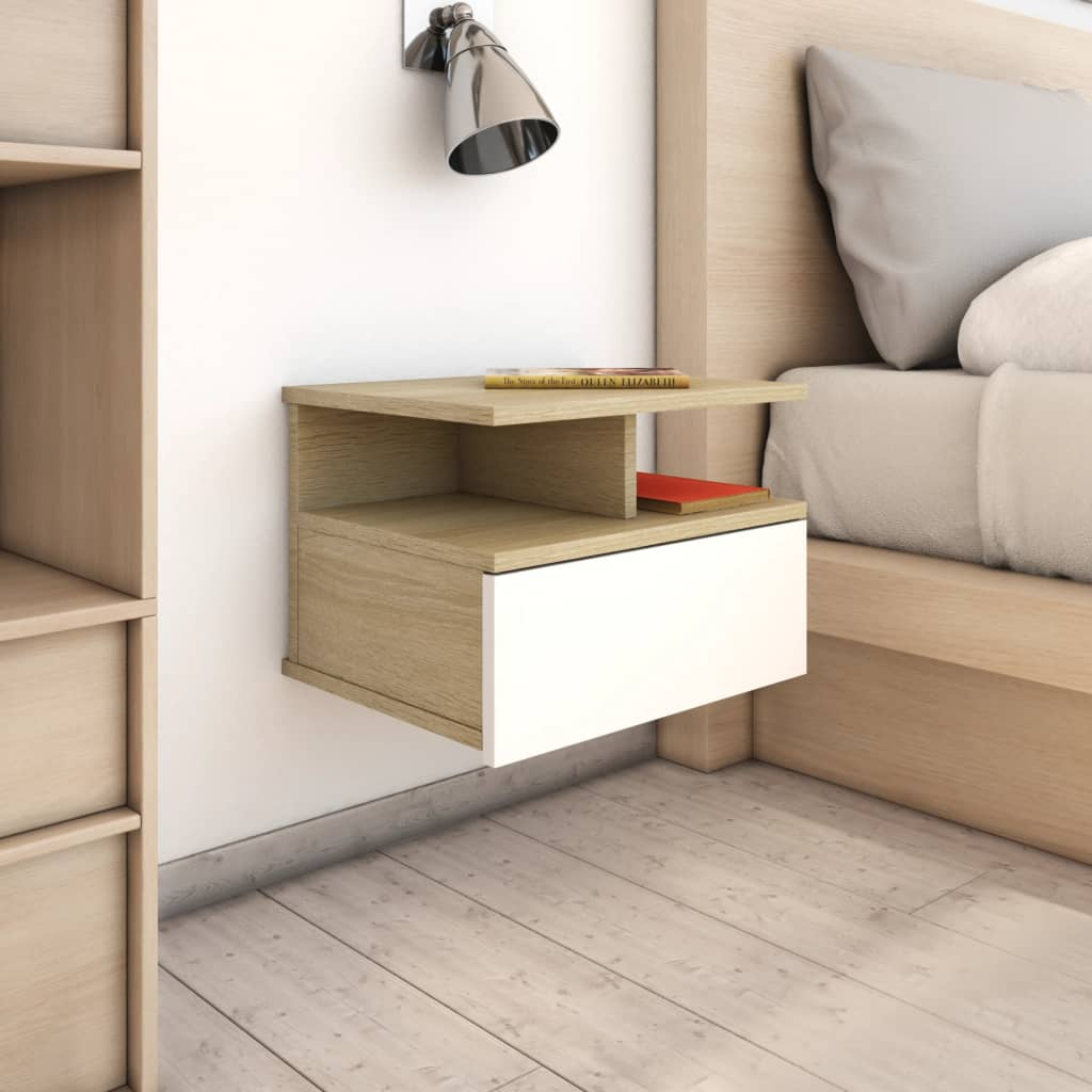 Floating Nightstands 2 pcs White and Sonoma Oak 40x31x27 cm Chipboard