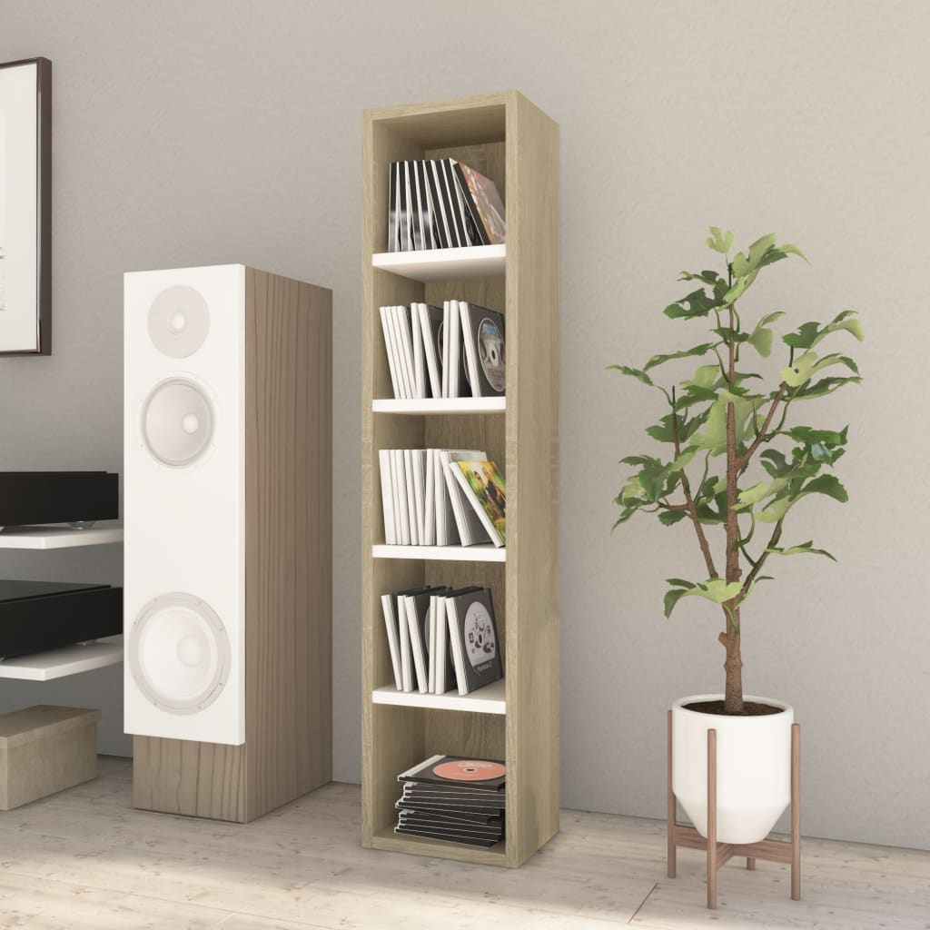 CD Cabinet White and Sonoma Oak 21x16x93.5 cm Chipboard