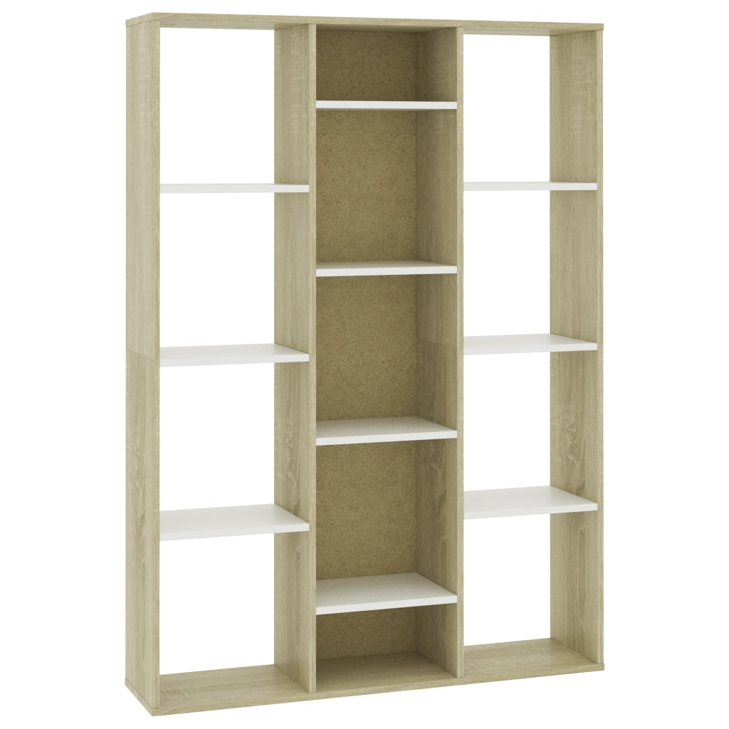 Room Divider/Book Cabinet White and Sonoma Oak 100x24x140 cm Chipboard 2