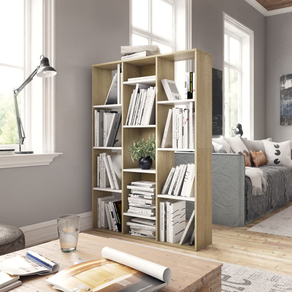 Room Divider/Book Cabinet White and Sonoma Oak 100x24x140 cm Chipboard 3