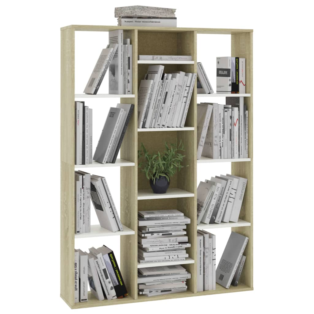 Room Divider/Book Cabinet White and Sonoma Oak 100x24x140 cm Chipboard 4