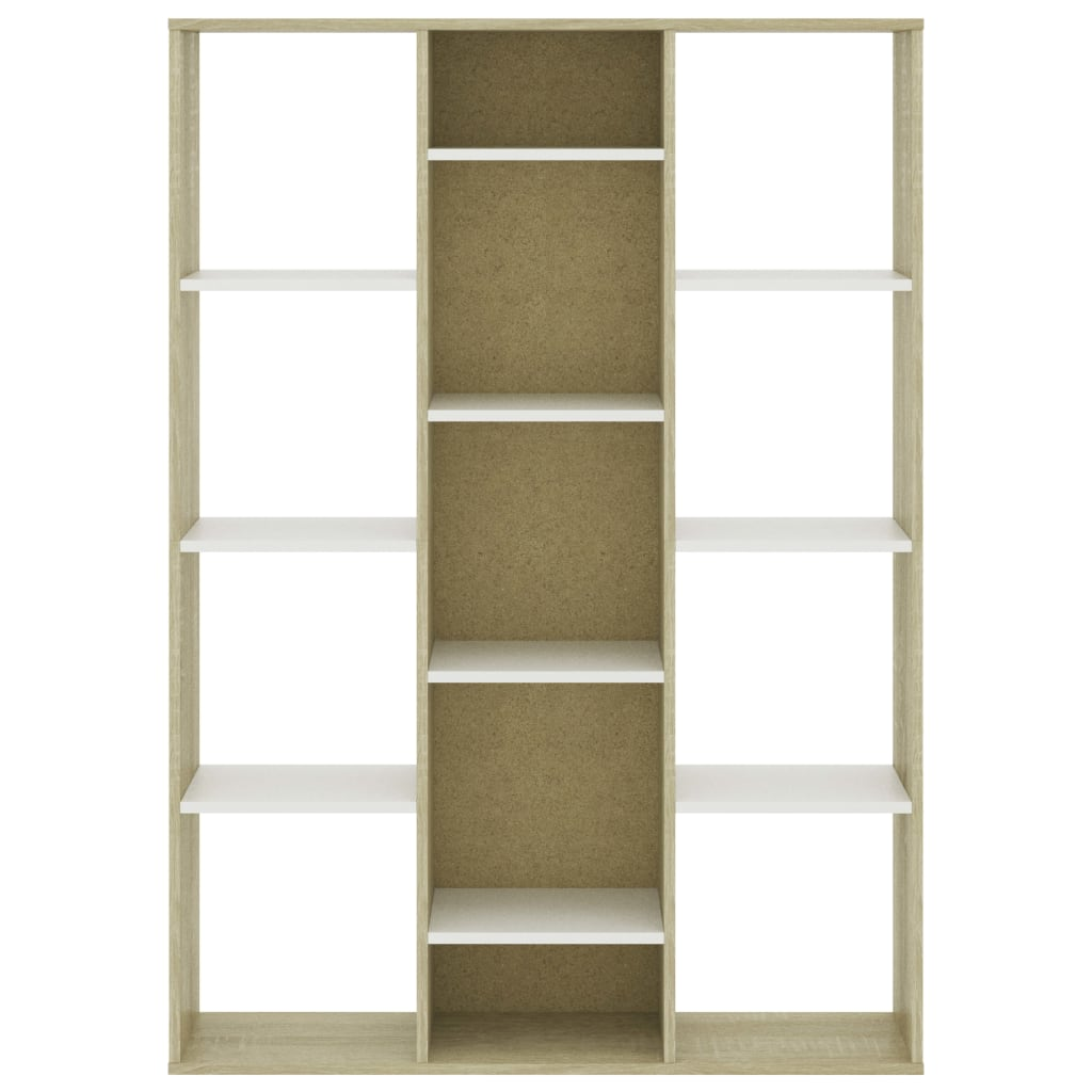 Room Divider/Book Cabinet White and Sonoma Oak 100x24x140 cm Chipboard 5