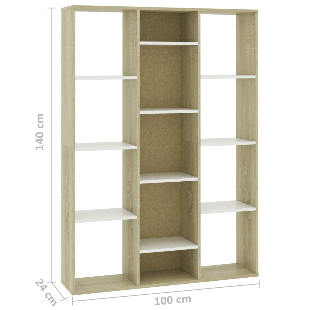 Room Divider/Book Cabinet White and Sonoma Oak 100x24x140 cm Chipboard 7