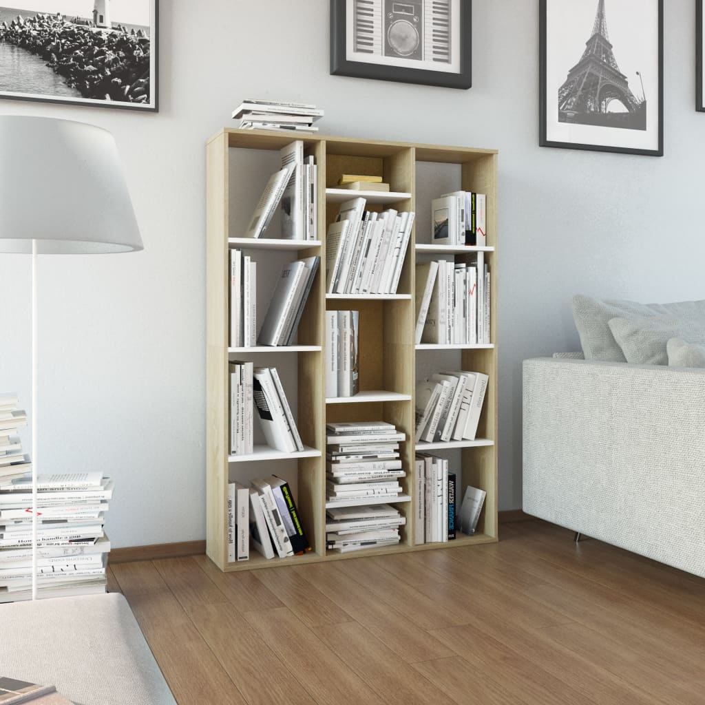 Room Divider/Book Cabinet White and Sonoma Oak 100x24x140 cm Chipboard 1