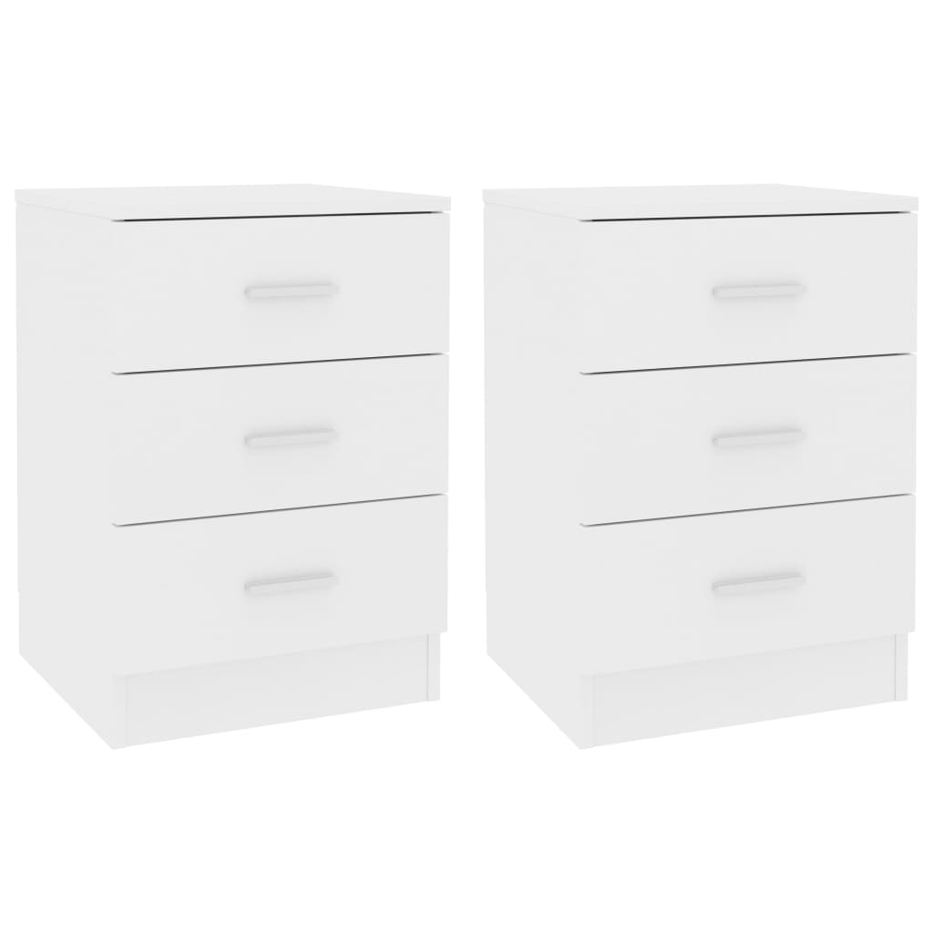 Bedside Cabinets 2 pcs White 38x35x56 cm Chipboard 2