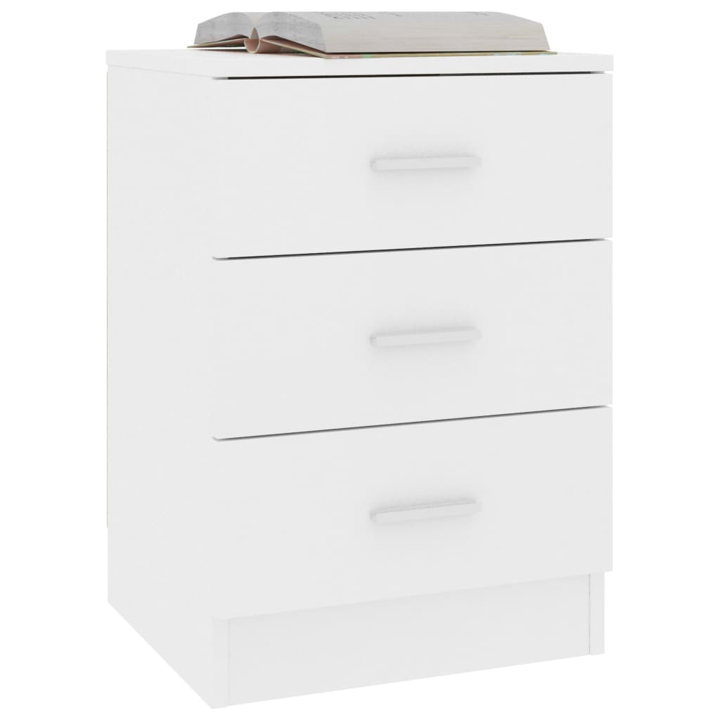 Bedside Cabinets 2 pcs White 38x35x56 cm Chipboard 3
