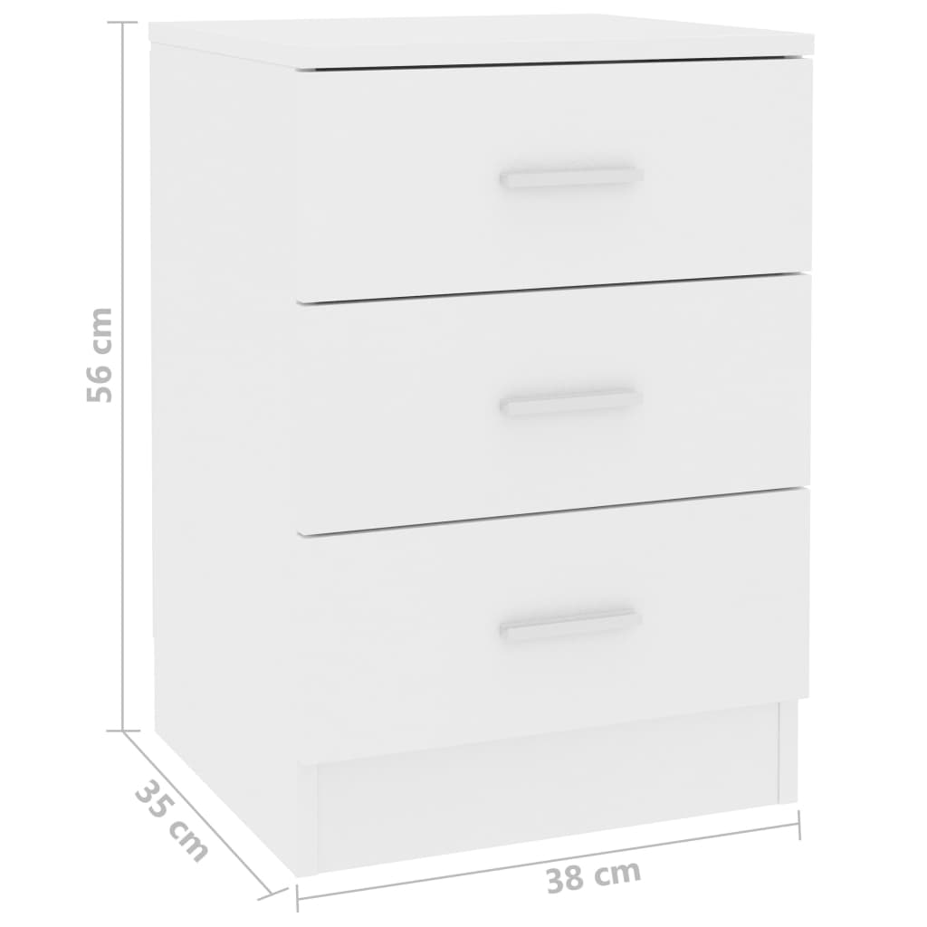 Bedside Cabinets 2 pcs White 38x35x56 cm Chipboard 7