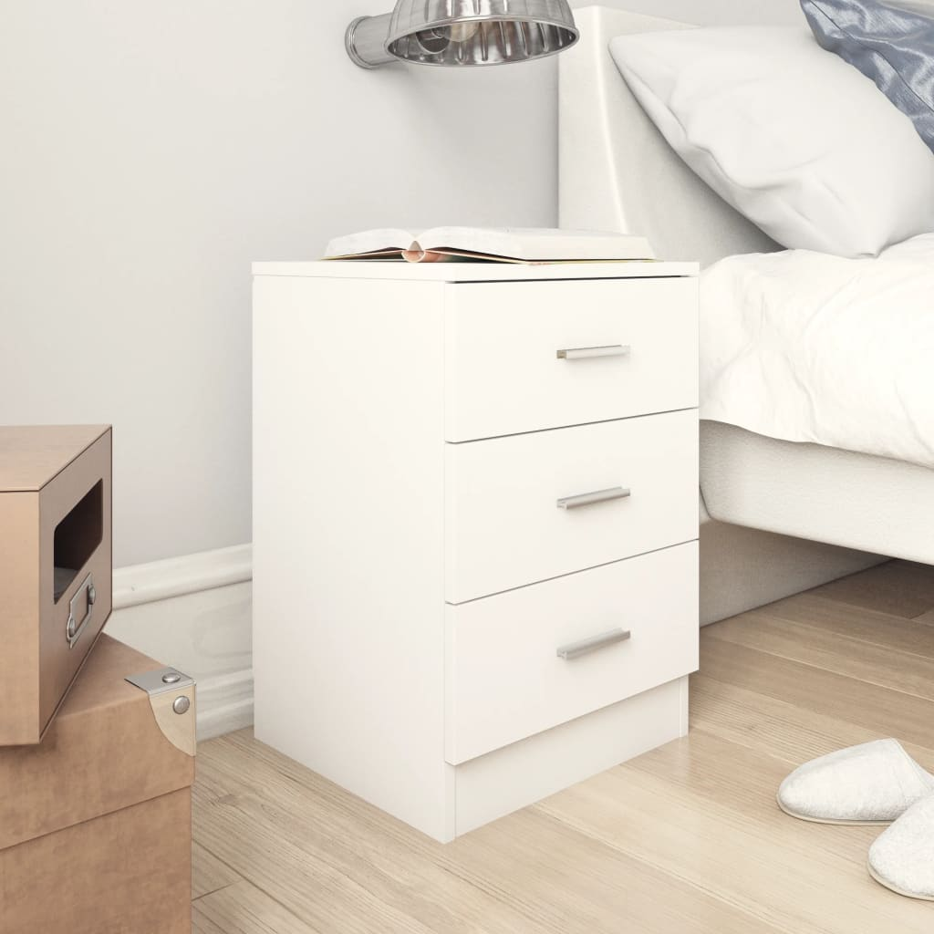Bedside Cabinets 2 pcs White 38x35x56 cm Chipboard 1