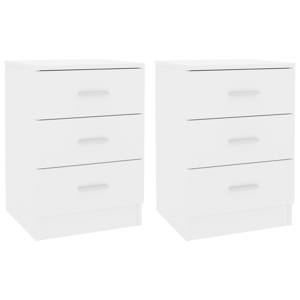 Bedside Cabinets 2 pcs High Gloss White 38x35x56 cm Chipboard 2