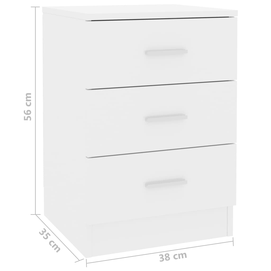 Bedside Cabinets 2 pcs High Gloss White 38x35x56 cm Chipboard 7