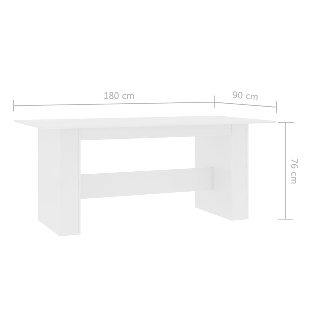Dining Table White 180x90x76 cm Chipboard 6