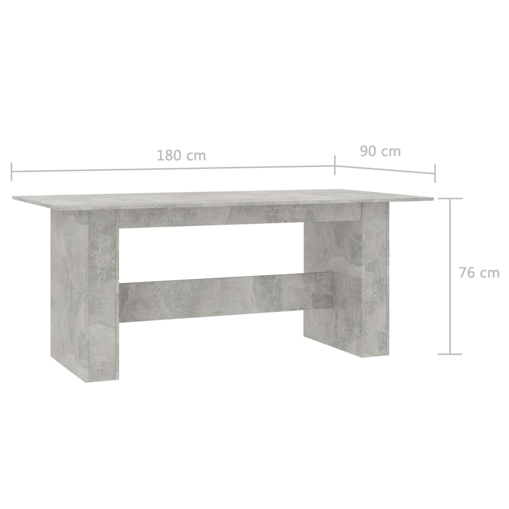 Dining Table Concrete Grey 180x90x76 cm Chipboard 7