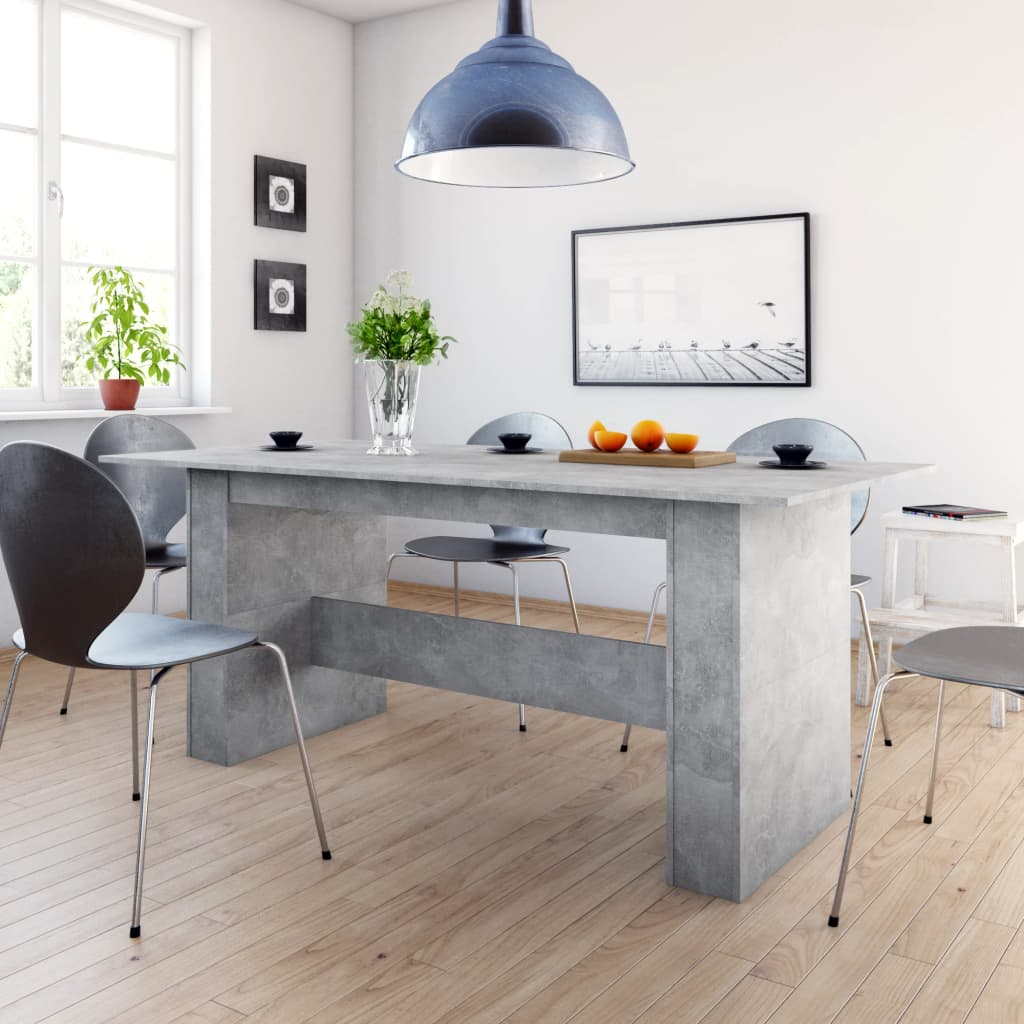 Dining Table Concrete Grey 180x90x76 cm Chipboard 1