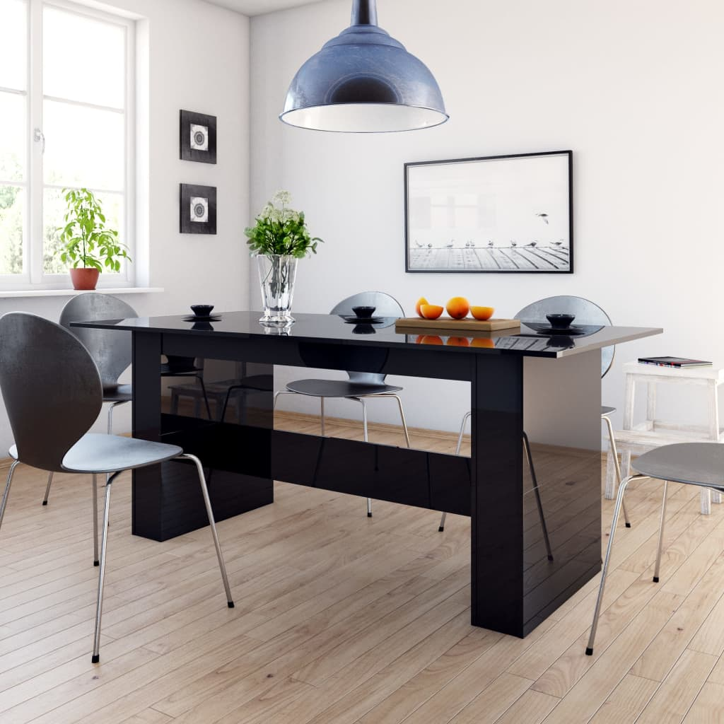 Dining Table High Gloss Black 180x90x76 cm Chipboard 1