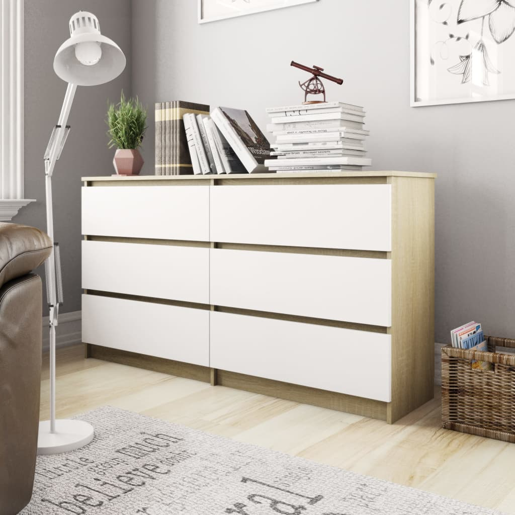 Sideboard White and Sonoma Oak 140x35x77 cm Chipboard