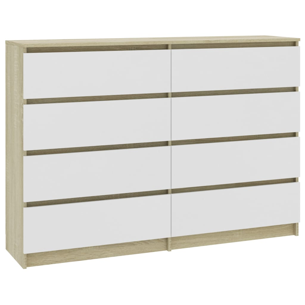 Sideboard White and Sonoma Oak 140x35x79 cm Chipboard 2