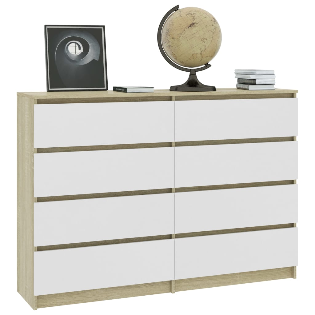 Sideboard White and Sonoma Oak 140x35x79 cm Chipboard 3