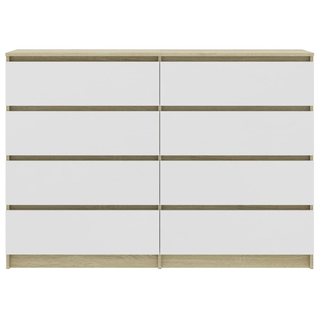 Sideboard White and Sonoma Oak 140x35x79 cm Chipboard 4