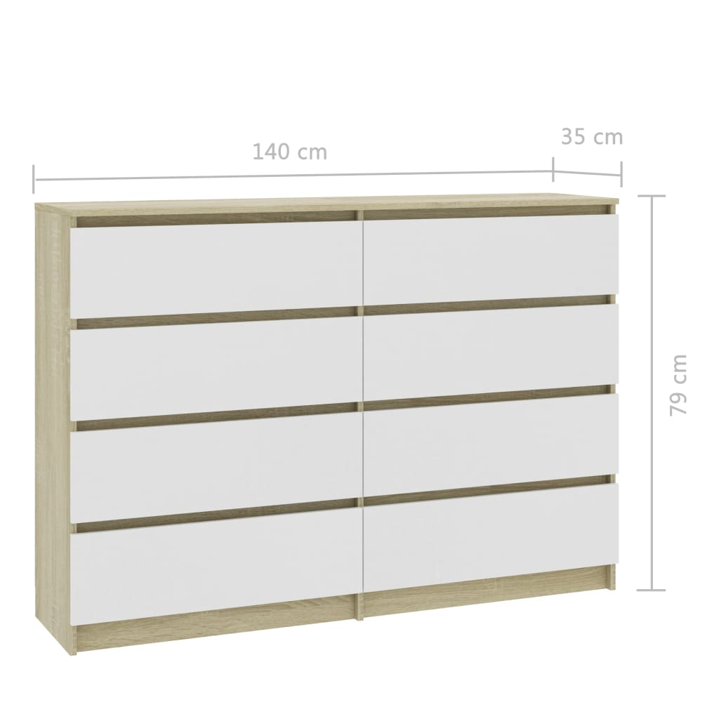 Sideboard White and Sonoma Oak 140x35x79 cm Chipboard 6