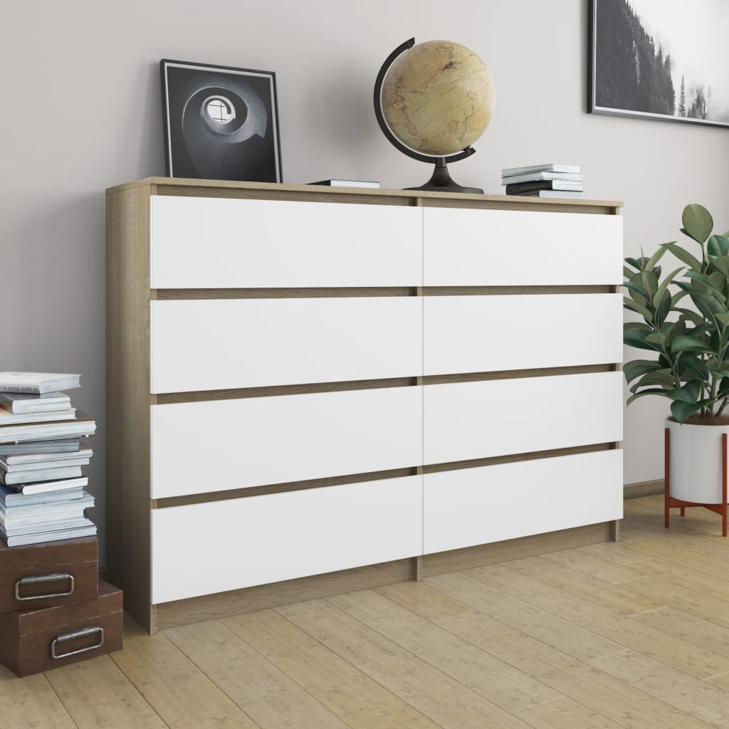 Sideboard White and Sonoma Oak 140x35x79 cm Chipboard