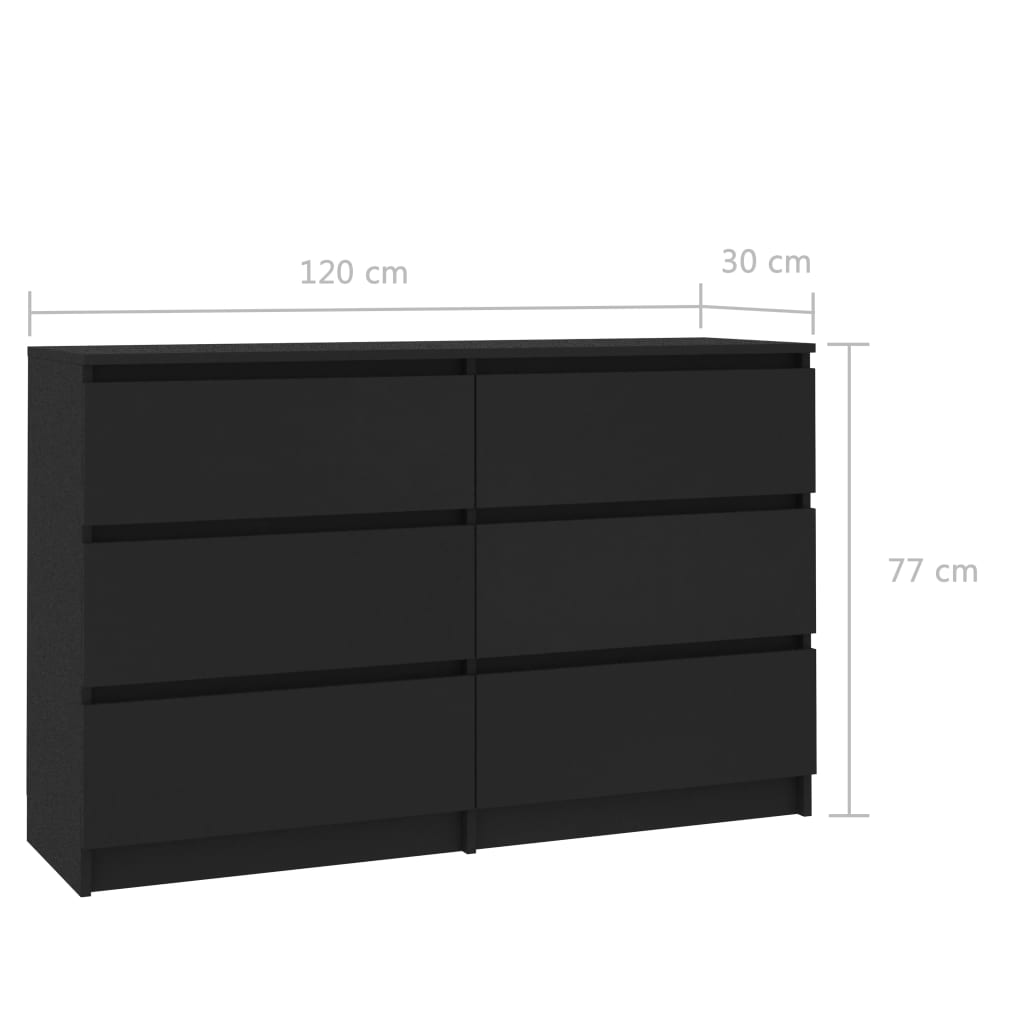 Sideboard Black 120x30x77 cm Chipboard 6