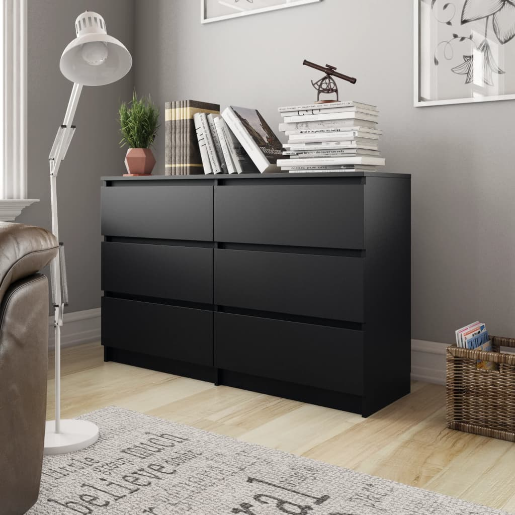 Sideboard Black 120x30x77 cm Chipboard 1