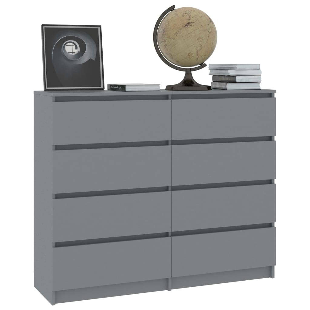 Drawer Sideboard Grey 120x35x97 cm Chipboard 3
