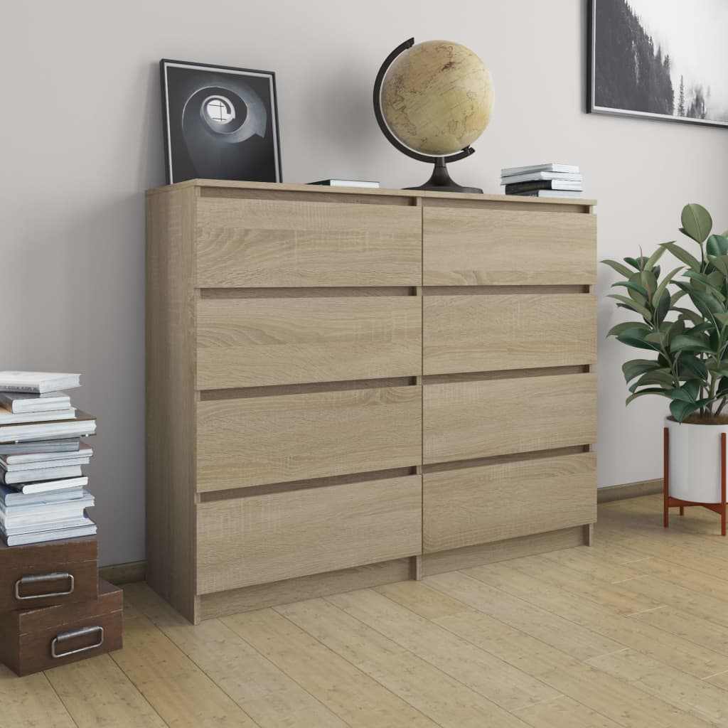 Drawer Sideboard Sonoma Oak 120x35x97 cm Chipboard