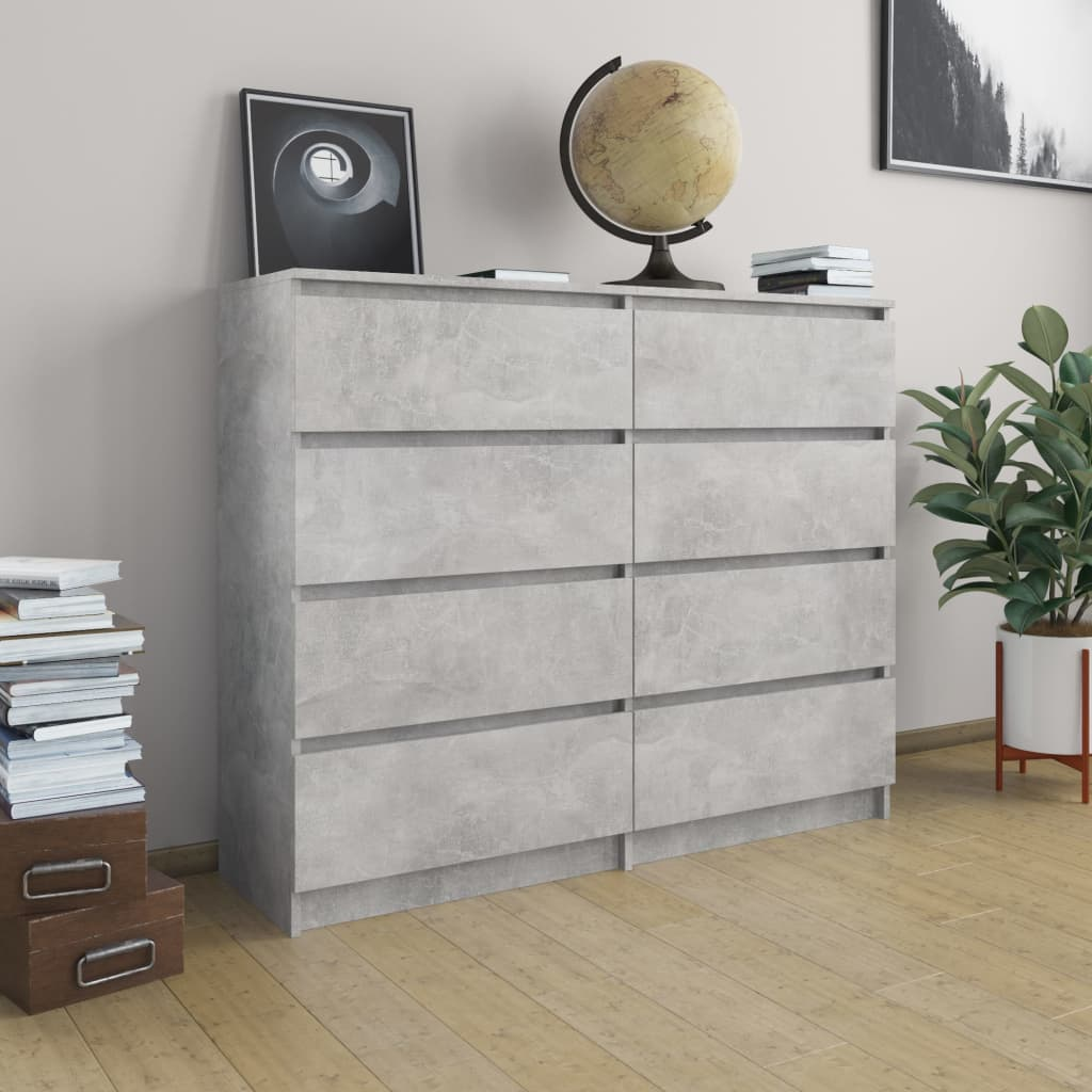 Drawer Sideboard Concrete Grey 120x35x97 cm Chipboard 1