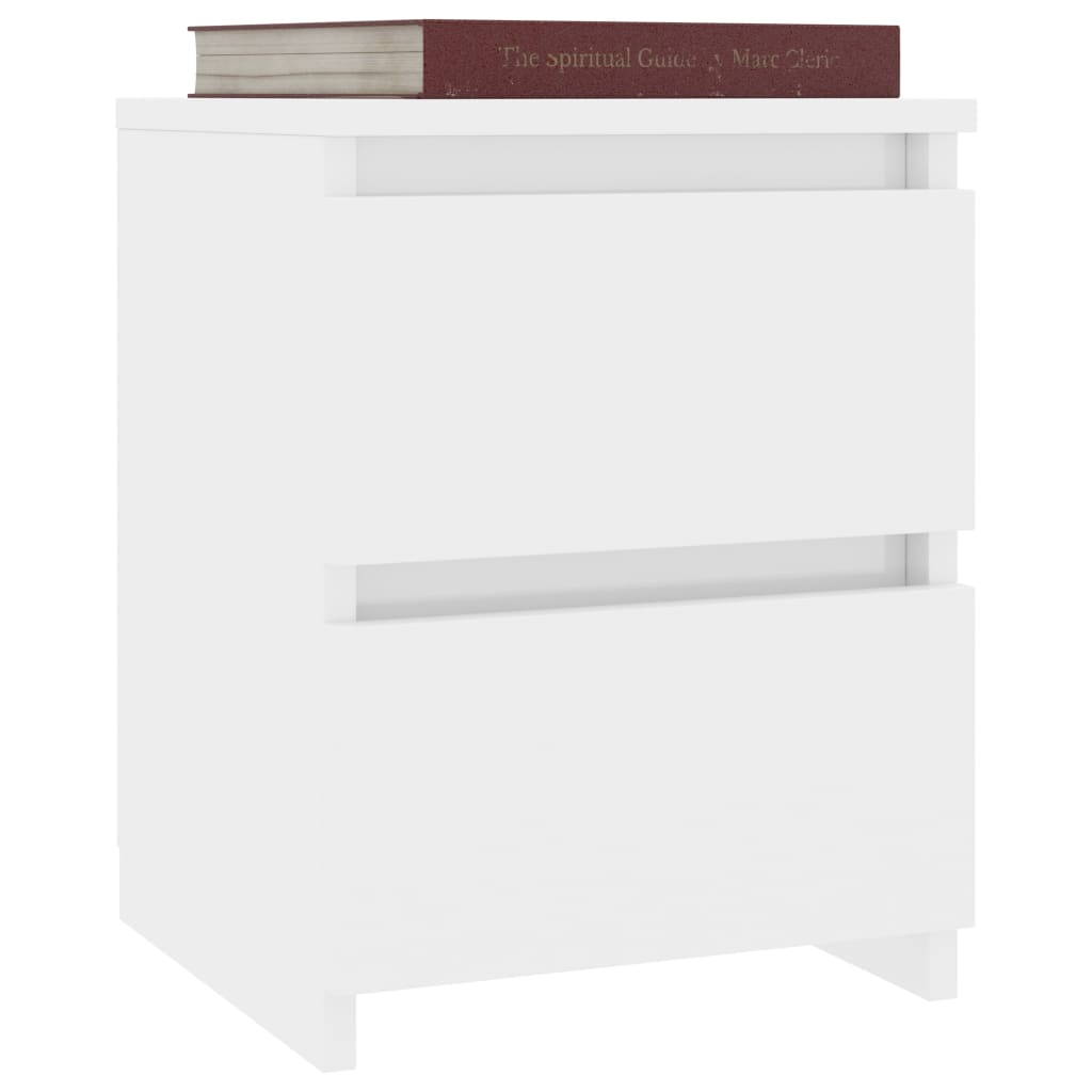 Bedside Cabinet High Gloss White 30x30x40 cm Chipboard 3