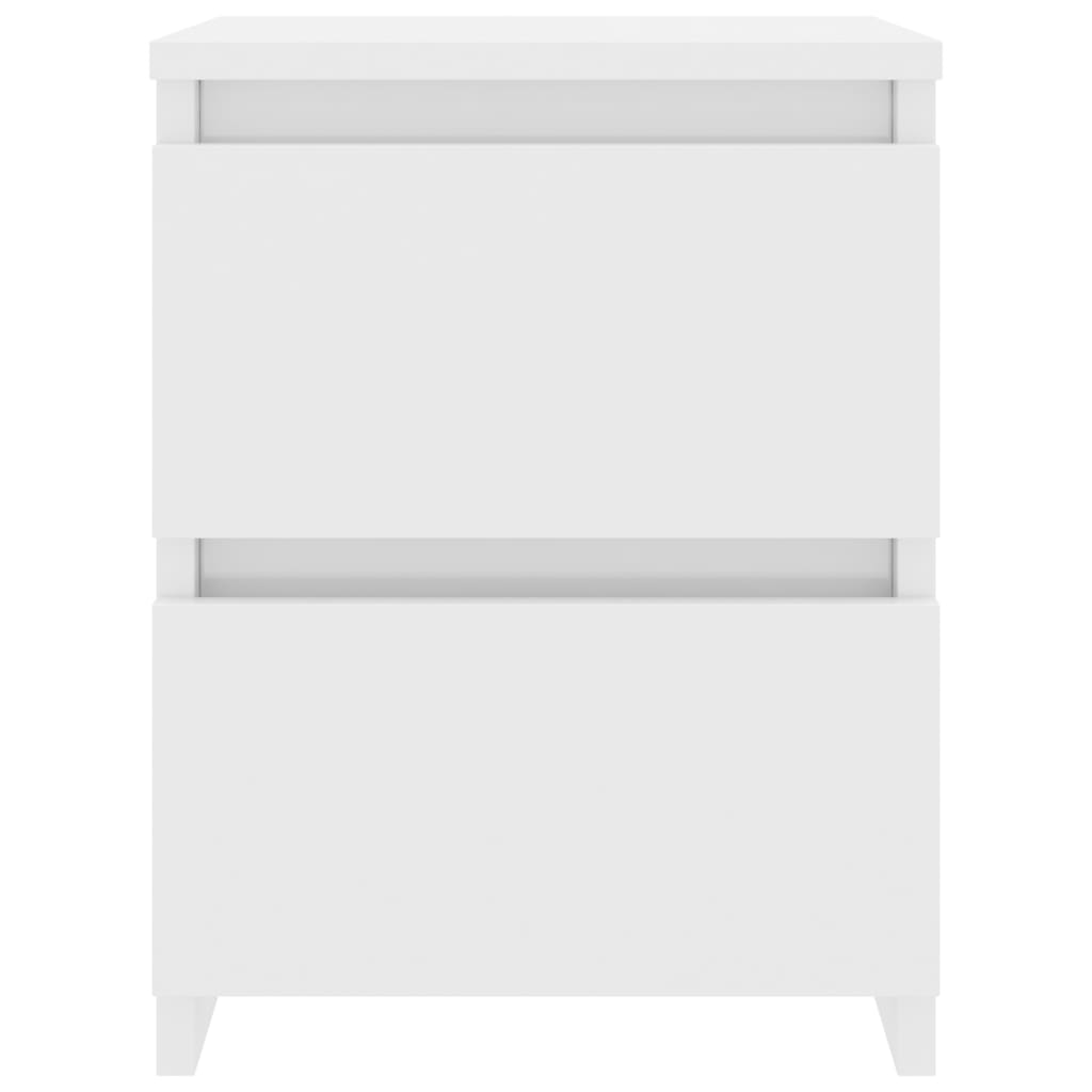 Bedside Cabinet High Gloss White 30x30x40 cm Chipboard 4