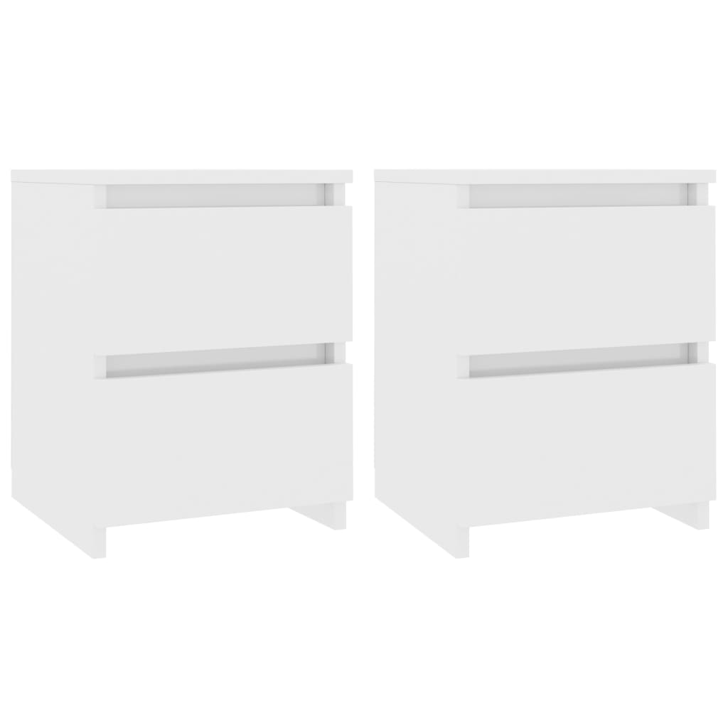 Bedside Cabinets 2 pcs High Gloss White 30x30x40 cm Chipboard 2