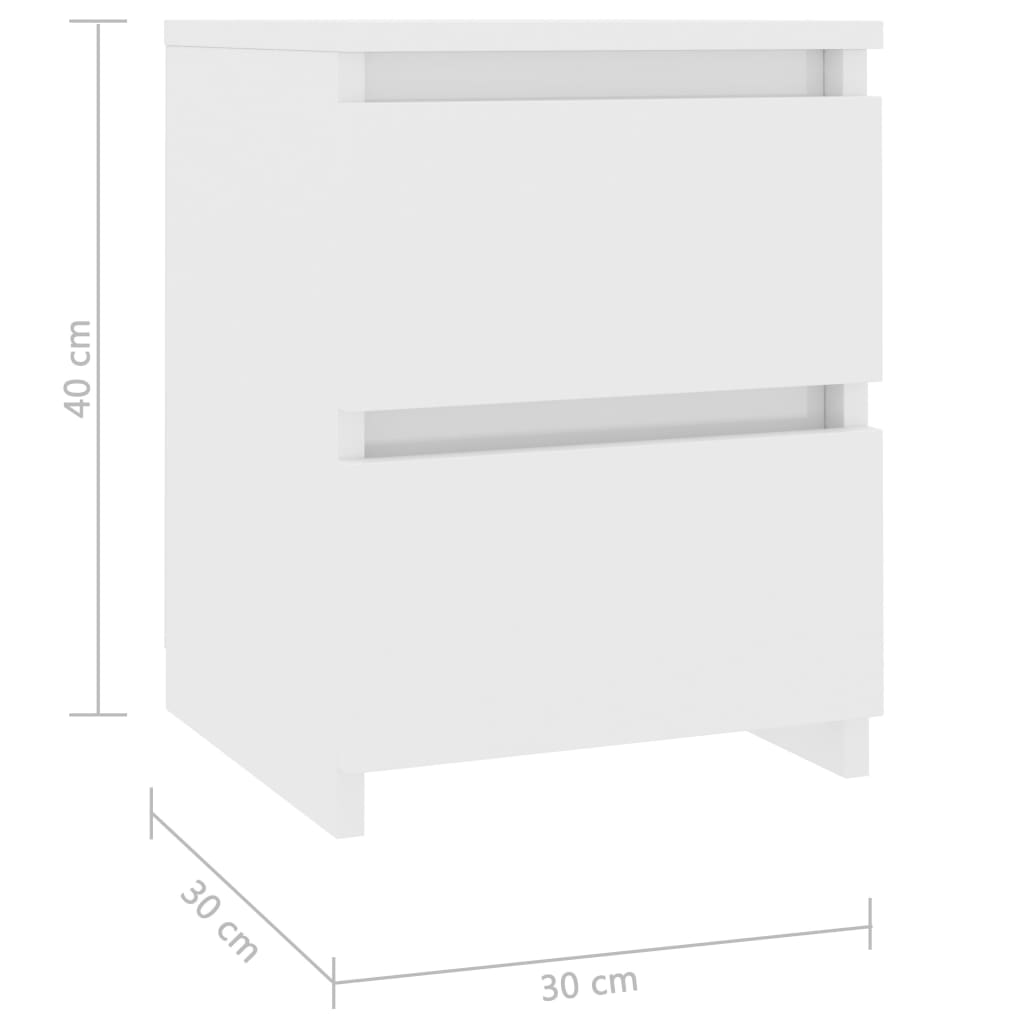 Bedside Cabinets 2 pcs High Gloss White 30x30x40 cm Chipboard 7