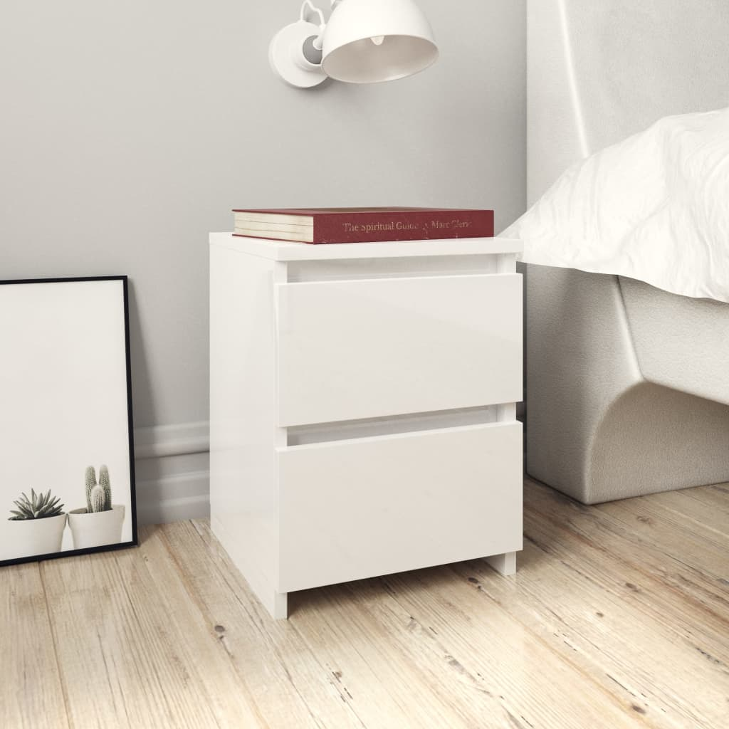Bedside Cabinets 2 pcs High Gloss White 30x30x40 cm Chipboard 1