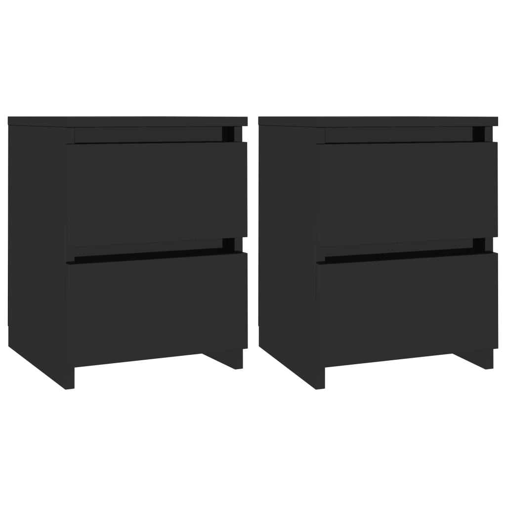 Bedside Cabinets 2 pcs High Gloss Black 30x30x40 cm Chipboard 2