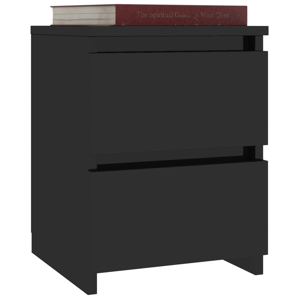 Bedside Cabinets 2 pcs High Gloss Black 30x30x40 cm Chipboard 3