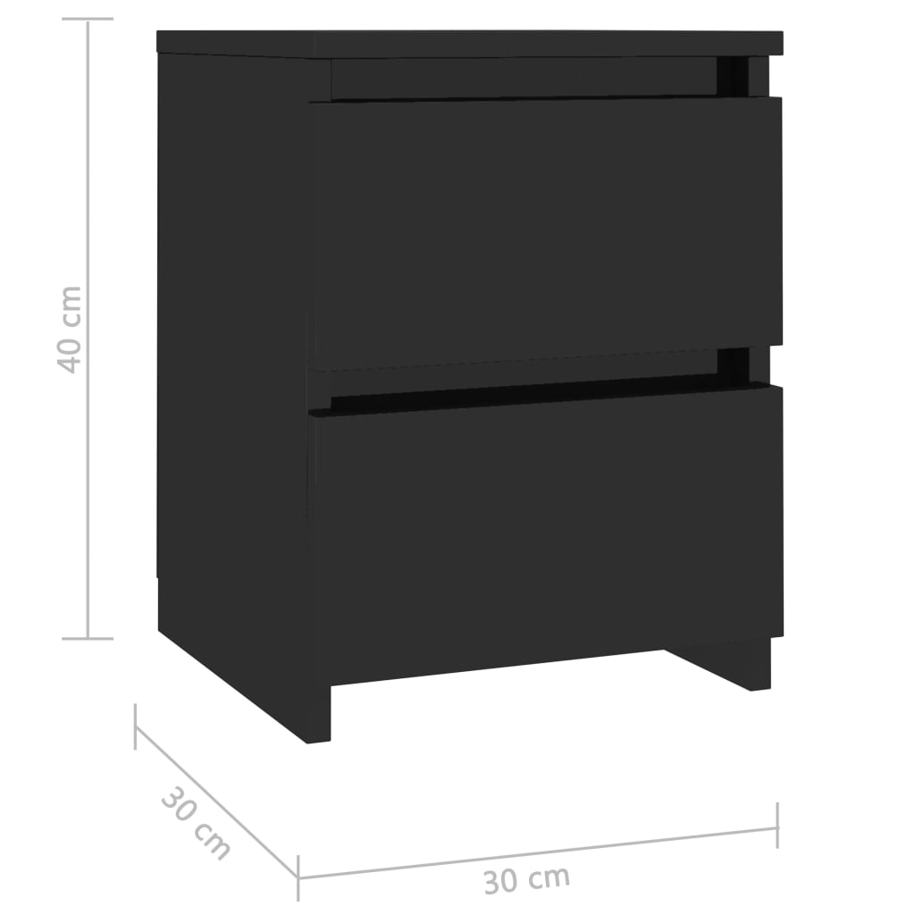 Bedside Cabinets 2 pcs High Gloss Black 30x30x40 cm Chipboard 7