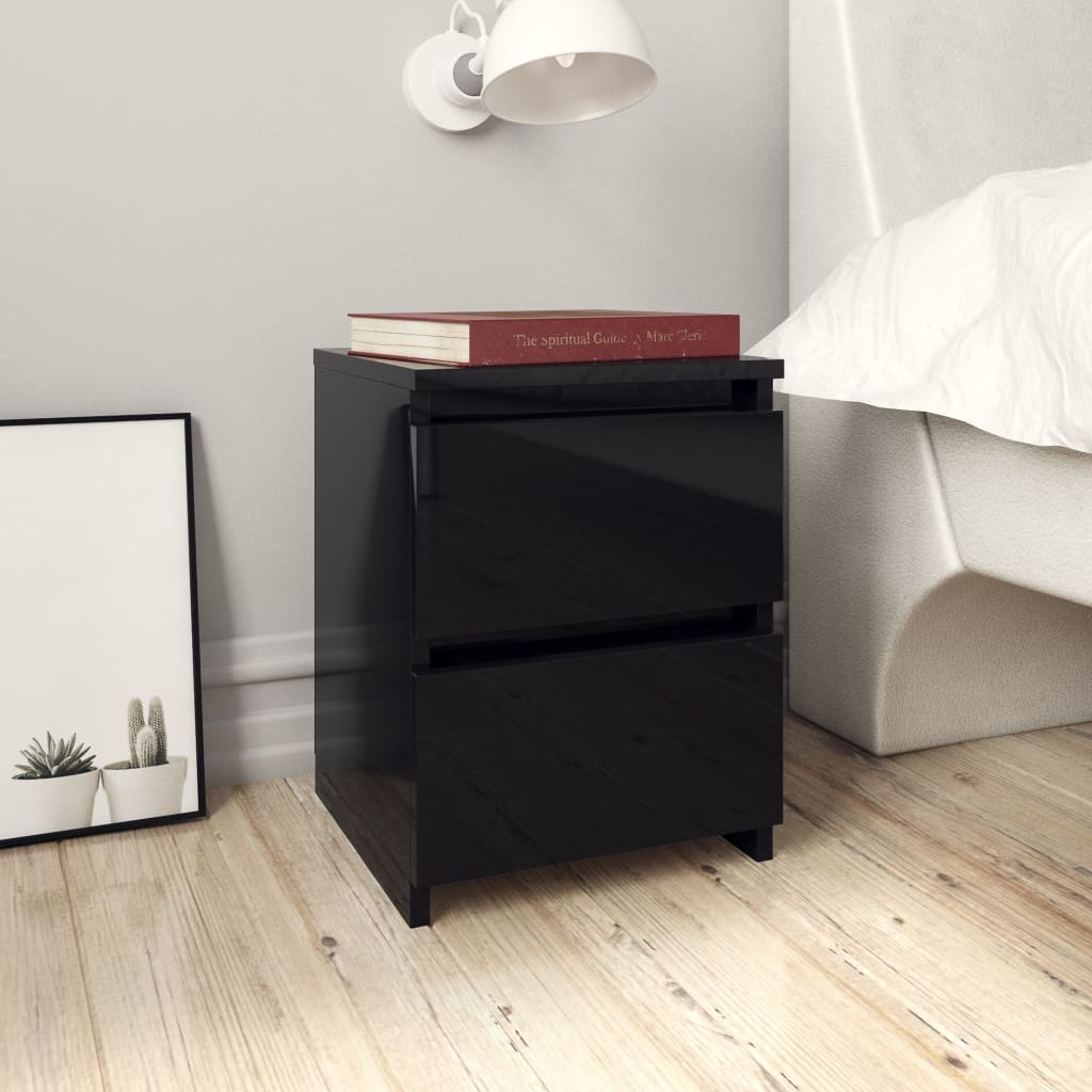 Bedside Cabinets 2 pcs High Gloss Black 30x30x40 cm Chipboard