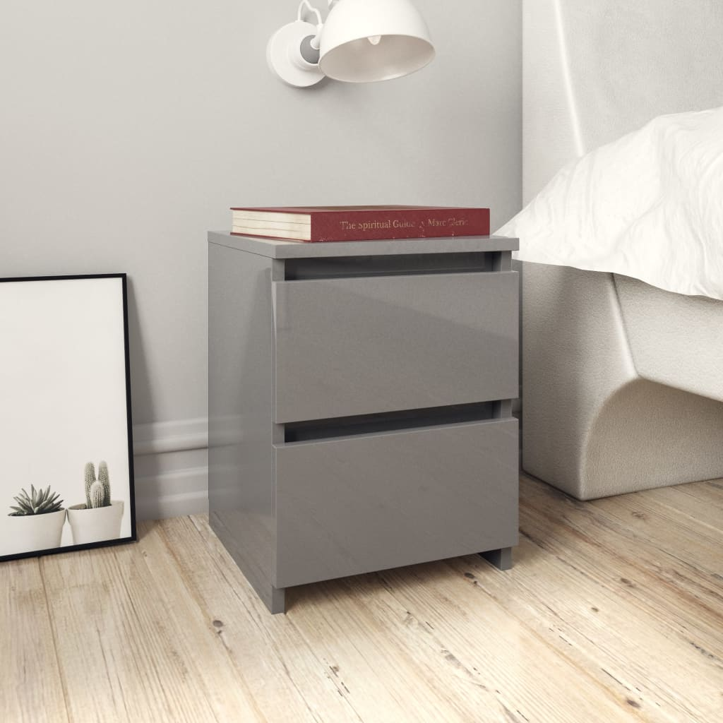 Bedside Cabinet High Gloss Grey 30x30x40 cm Chipboard