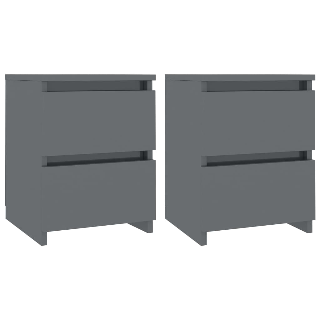 Bedside Cabinets 2 pcs High Gloss Grey 30x30x40 cm Chipboard 2