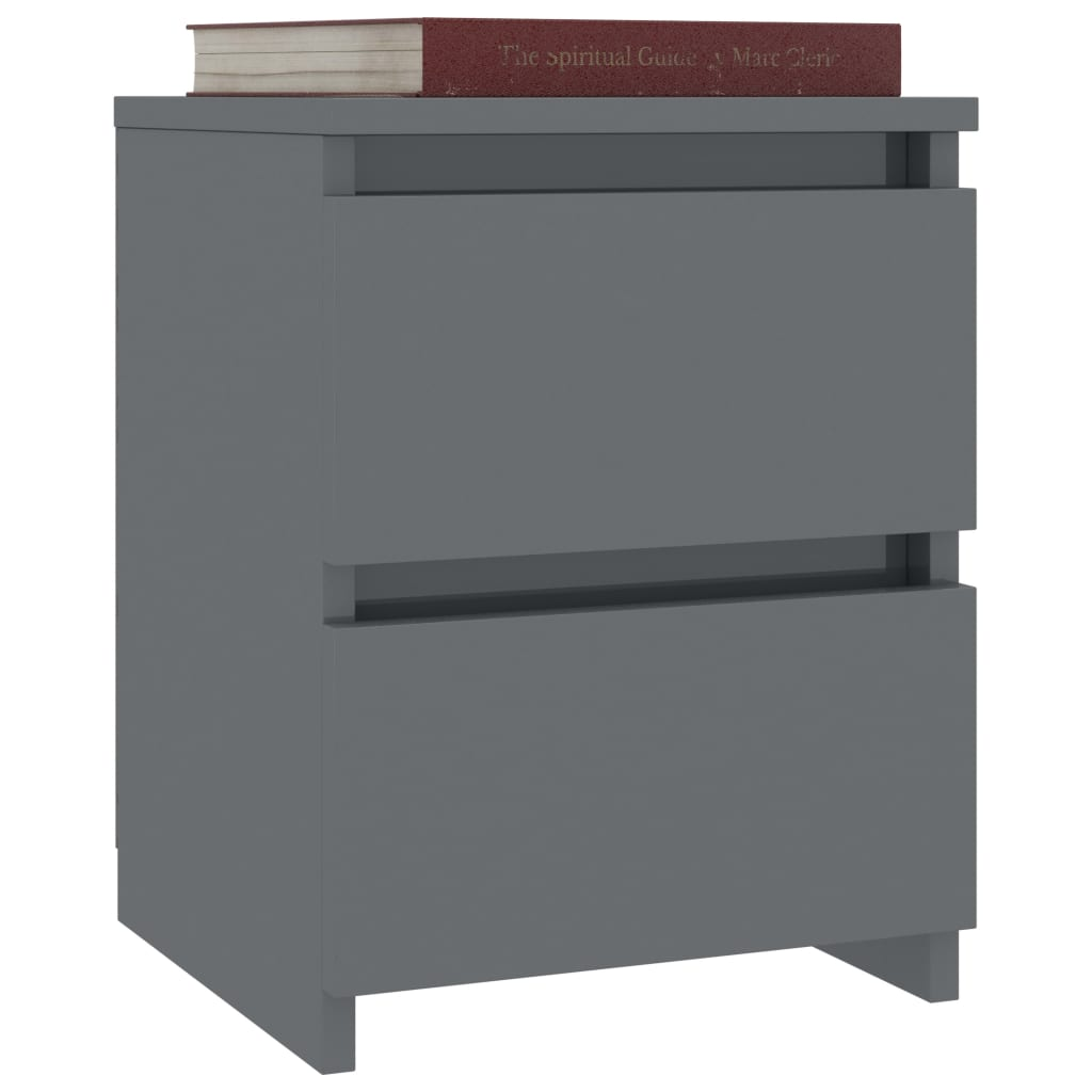 Bedside Cabinets 2 pcs High Gloss Grey 30x30x40 cm Chipboard 3