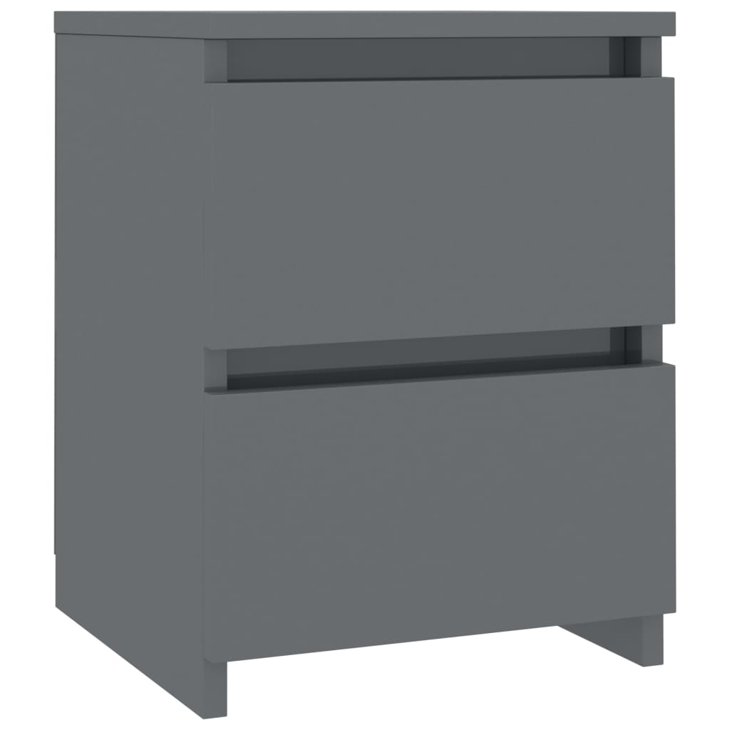 Bedside Cabinets 2 pcs High Gloss Grey 30x30x40 cm Chipboard 4