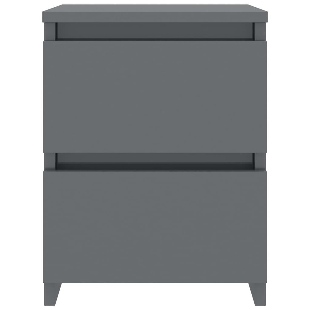 Bedside Cabinets 2 pcs High Gloss Grey 30x30x40 cm Chipboard 5