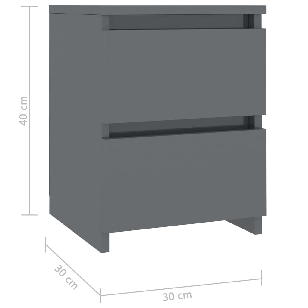 Bedside Cabinets 2 pcs High Gloss Grey 30x30x40 cm Chipboard 7