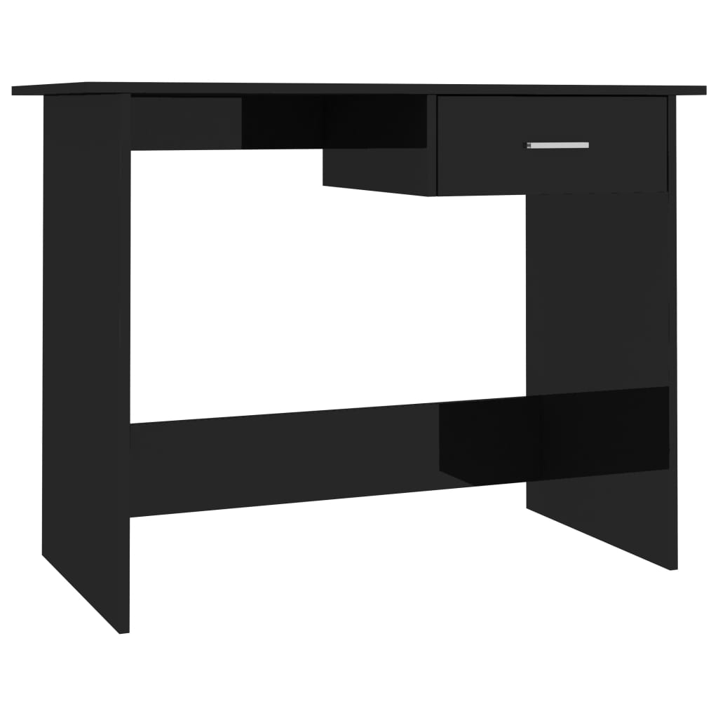 Desk High Gloss Black 100x50x76 cm Chipboard 2
