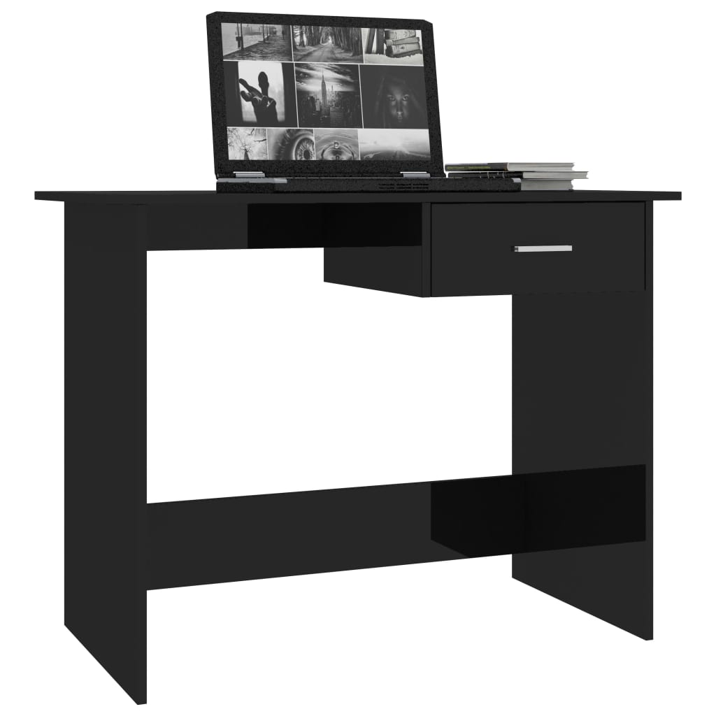 Desk High Gloss Black 100x50x76 cm Chipboard 3