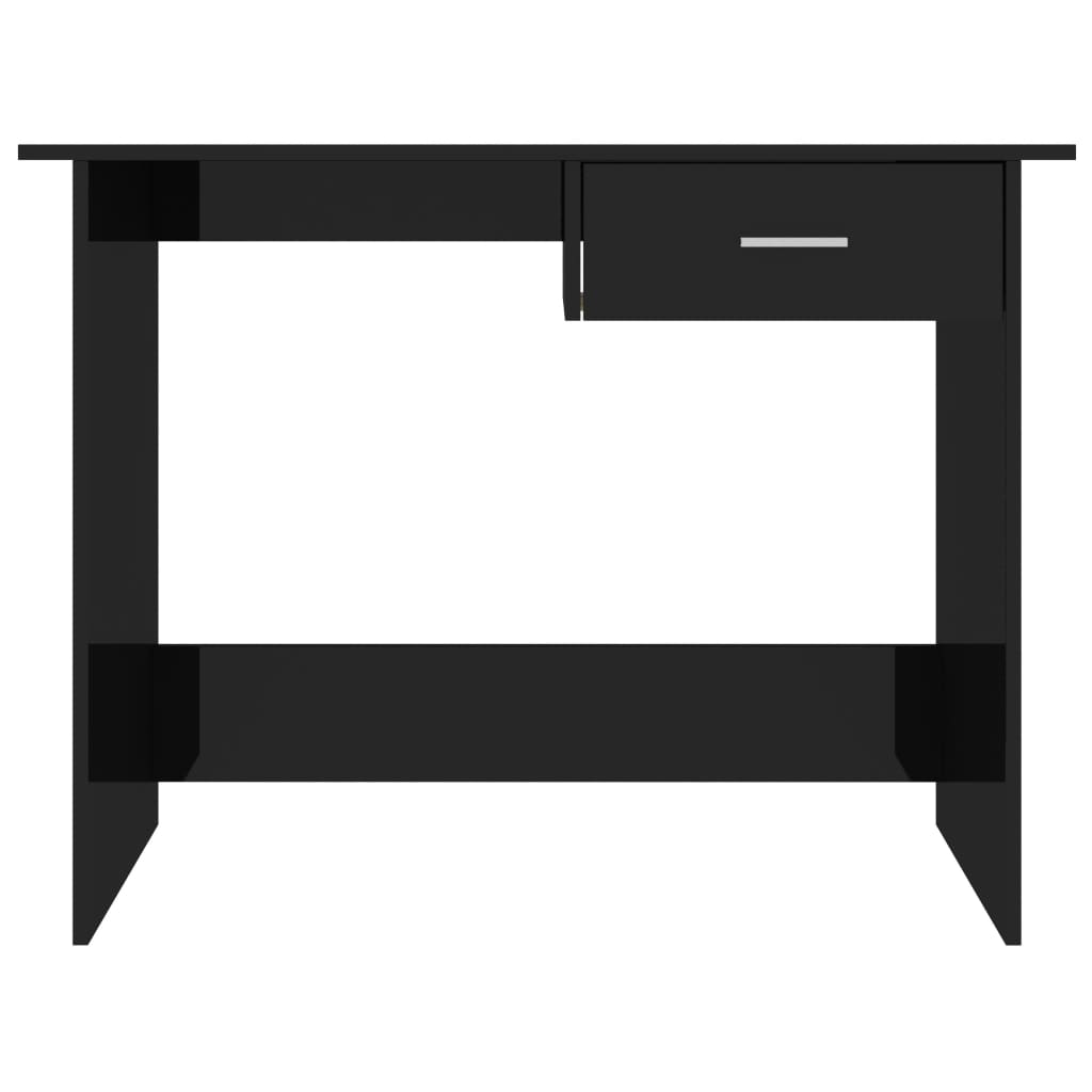 Desk High Gloss Black 100x50x76 cm Chipboard 4