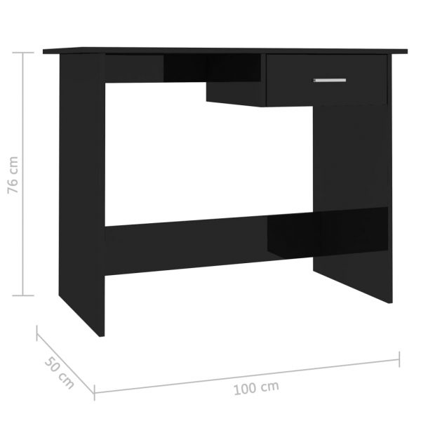 Desk High Gloss Black 100x50x76 cm Chipboard 6
