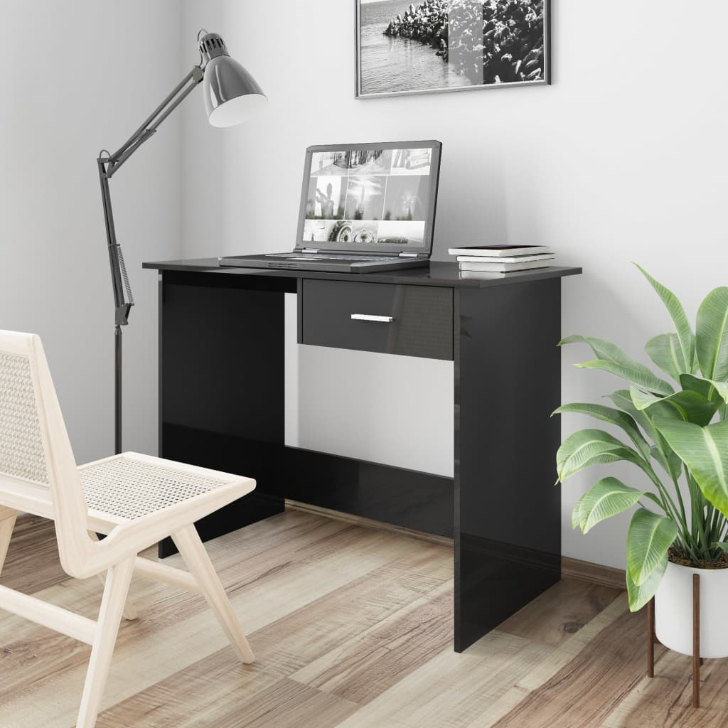 Desk High Gloss Black 100x50x76 cm Chipboard 1
